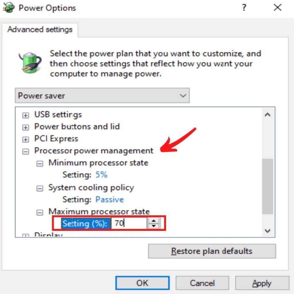 Maximum power state to 70%