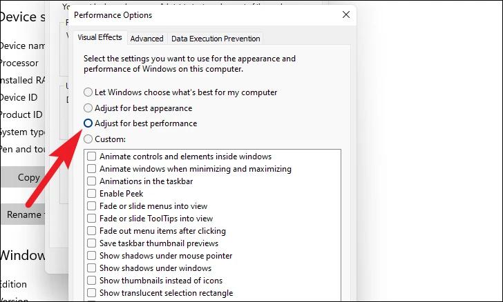 click on Adjust for optimal performance