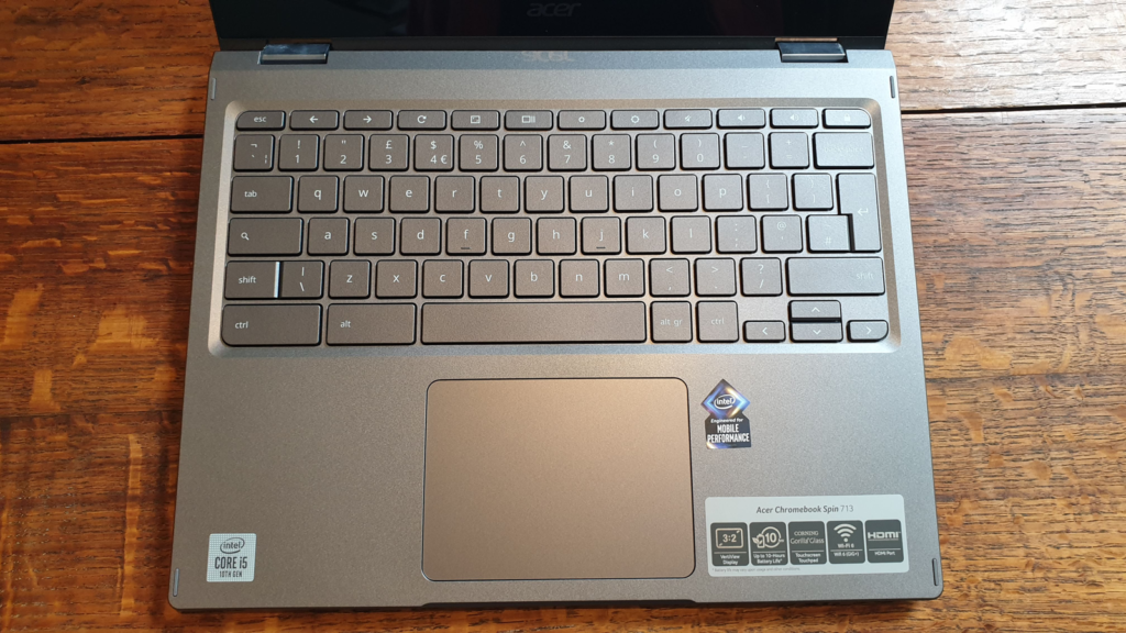 Acer Chromebook Spin 713 Keyboard and Touchpad of Chromebook